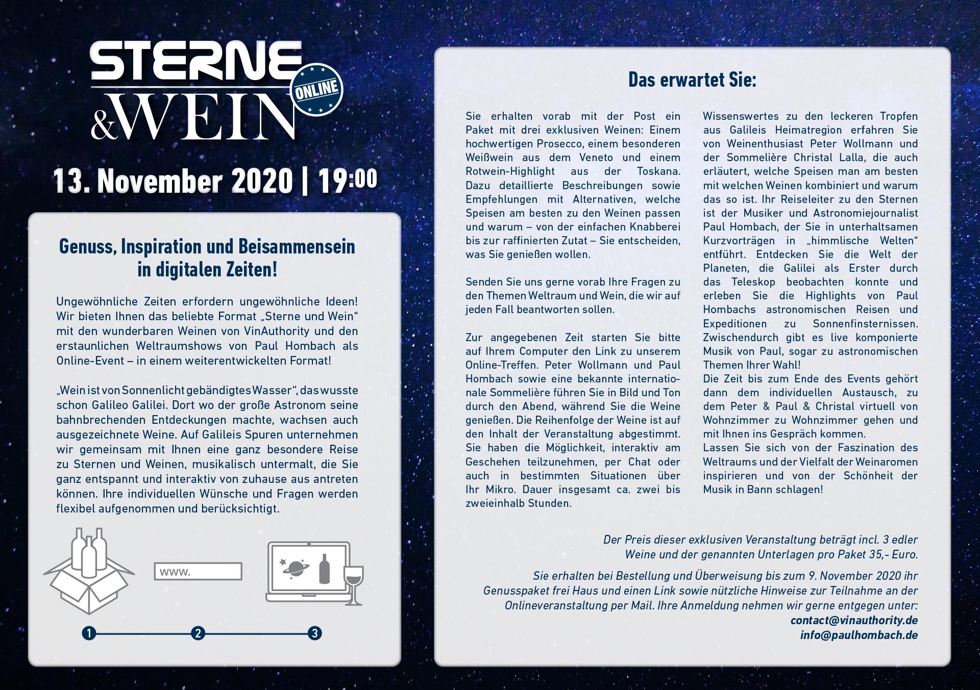 Sterne und Wein Event 13.11.2020